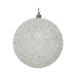 Boule de Noël - Pailettes - Blanc/Argent - Plastique - Ø 10 cm