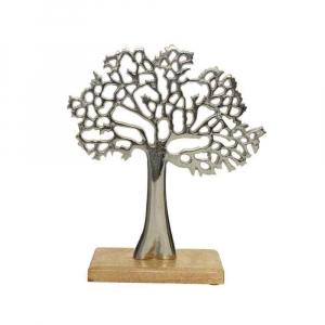 Arbre déco alluminium - Support en manguier - 27 cm