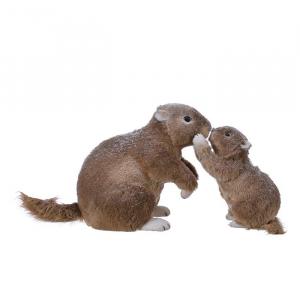 Marmotte en mousse avec son petit - Fourrune brune pailleté - 26 cm