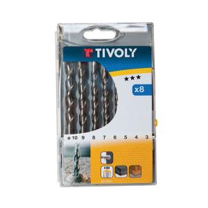 Coffret 8 forets à béton - Tivoly - Ø 3 à 10 mm