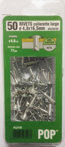 Rivet à collerette large alu-acier - 4,8 x 16,5 - Lot de 50