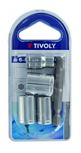 Lot 4 douilles + porte-embouts - Tivoly - Ø 6 à 13 mm