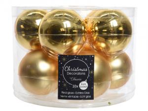 boîte de 10 boules de Noël - Unies brillantes/Mat -or - Ø 6 cm