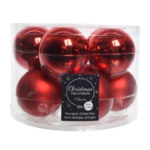 boîte de 10 boules de Noël - Unies brillantes/Mat - rouge - Ø 6 cm