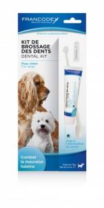 Kit de brossage des dents - Francodex -Pour chiens - Tube de 70g