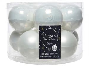 boîte de 10 boules de Noël - Unies brillantes/Mat - blanc - Ø 6 cm