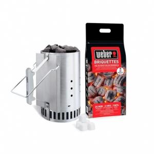 Cheminée d'allumage + 2kg de briquettes+ allumes feu - Weber