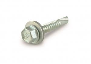 Vis tôle autoforeuse - Tête hexagonale - En acier zingué + rondelle - 4.8 x 19 mm - Blister de 30 pièces