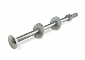 Boulon TRCC avec rondelle large - Tête large collet carré - En acier zingué - M12 x 180 mm - 1 pièce