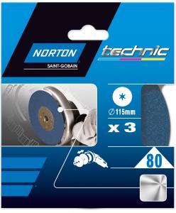 Disques ponçage meuleuse d'angle Grain 80 NORTON TECHNIC - Ø 115 x 22 mm