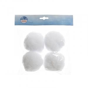 Lot de  4 Boules de neige -  95% polyester 5% PVC - Blanc - Ø 8 cm
