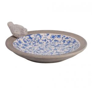 Bain d'oiseau en céramique patiné - Esschert Design -  Ø 33,5 x 10,8 cm