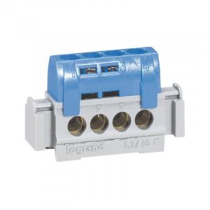 Bornier de neutre - Le Grand - 4 bornes pour câble 1,5 à 16 mm² - Bleu