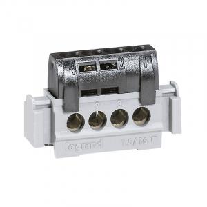 Bornier de phase - Le Grand - 4 bornes pour câble 1,5 à 16 mm² - Noir