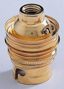 Douille B22 acier laitonné - Ebénoïd - Raccord Ø11 mm - Double bague
