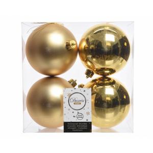 Boules de Noël - 4 unités - En plastique - Or clair - Ø 10 cm