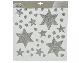 Décoration de fenêtre pour Noël - Etoile s - Stickers - Argent