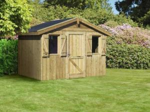 Abri de Jardin en panneaux - 20 mm - Ouessant - Traité Toit 2 pentes 3 x 2,15 m