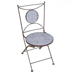 Chaise en céramique patiné - Esschert Design - Bleu/Blanc