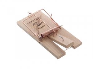 Tapette piège à souris - Lucifer - bois - 10x5 cm