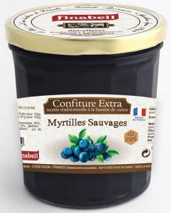 Confitures de myrtilles sauvages au miel - Finabeil - 375 gr