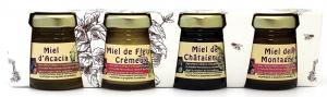 Assortiment de miel acacia, châtaignier, fleur printanière, montagne - Finabeil - 4x50 gr