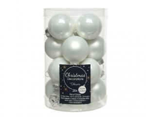 Boîte de 16 boules en verre Ø3,5cm col blanc brillant et mat