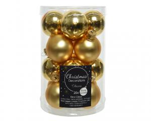 Boîte de 16 boules en verre Ø3,5cm col or brillant et mat