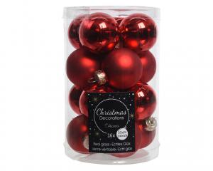 Boîte de 16 boules en verre Ø3,5cm col rouge brillant et mat