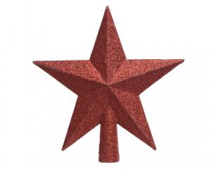 Cimier de sapin - Etoile - Rouge paillettes - 19 cm