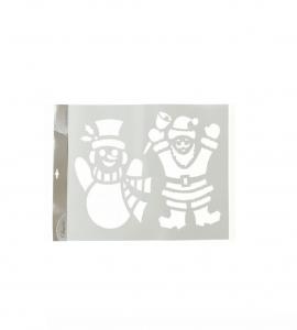 Pochoir géant de Noël - Bonhomme de neig e et Père Noël - 44,5 X 59,5 cm