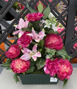Jardinière roses, lys et oeillets - Artificiel