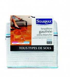 Serpillière gaufrée extra-blanche double pour tous types de sols - Starwax - 50 x 100 cm