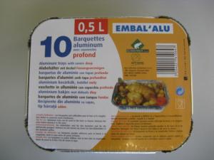 Barquettes aluminium - Embal'Alu - 0.5 L - x 10