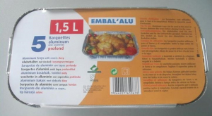 Barquettes aluminium - Embal'Alu - 1.5 L - x 5