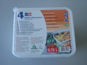 Boites alimentaires avec couvercles - 0.75 L - x 4