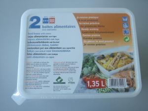 Boites alimentaires avec couvercles - 1.35 L - x 2