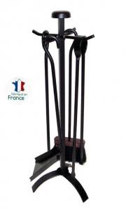 Serviteur de cheminée - Modèle Tête d'acier - Acier verni noir - 4 accessoires