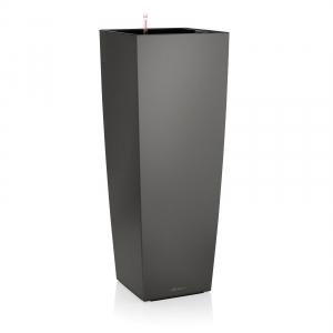 Pot Cubico Kit 40 - All is One Set - Lechuza - 40 x 40 x h 75 cm - Anthracite métallisé