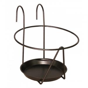 Porte pot avec soucoupe à accrocher - Louis Moulin - Ø 16/18 cm - Gris