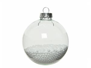 Lot de 4 boules de Noël - Verre - Transp arent - Intérieur avec des plumes - Ø 7 cm