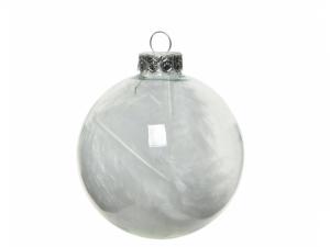 Boules de Noël - Verre à plumes - Blanc- 4 boules - Ø 7 cm