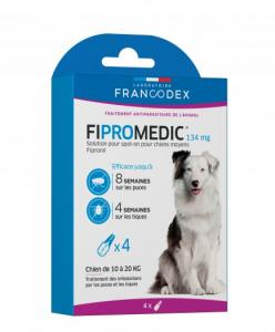 Fipromedic - Francodex - Pour chiens moyens - Traitement des infestations par puces et tiques - 4 pipettes de 1,34ml