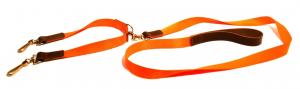 Laisse avec accouple 2 chiens - Bernizan - nylon polyamide - orange fluo
