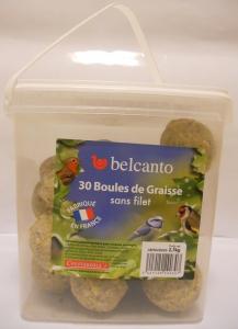 Boules de graisse pour oiseaux de jardin - Belcanto - sans filet - 30x90 gr