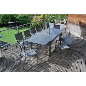 Table Extensible Lanza - Dimensions 165/261cm - Anthracite Aluminium