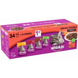 Sélection aux viandes en sauce pour chat - Whiskas - 34 + 14 pochons de 100gr offerts