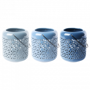 Lanterne céramique bleue ajourée - 3 teintes disponibles