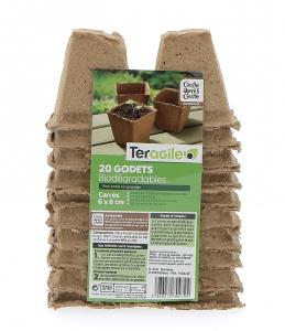 Godets carrés biodégradables - Teragile - Ø 6 - Lot de 20 pots
