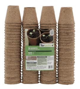 Godets ronds biodégradables - Teragile - Ø 6 - Lot de 96 pots